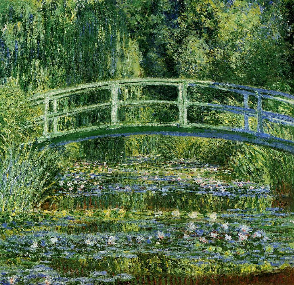 Monet's Waterlilies and Japanese bridge, 1899. Monet turned a parcel of land next to his land in Giverny into a Japanese-style water garden.