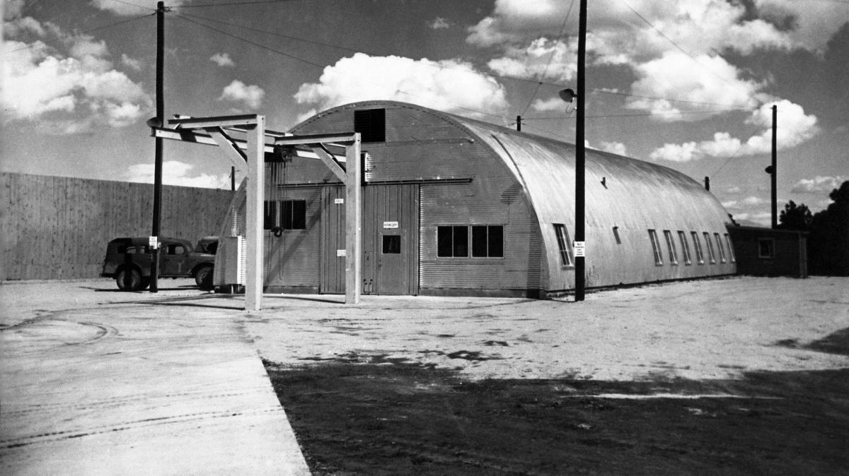 "A Quonset hut on the grounds of the Los Alamos National Lab in New Mexico where ""Fat Man"" was assembled in World War II. Fat Man was the nickname given to the atomic bomb dropped on Nagasaki, Japan, on Aug. 9, 1945. The hut would be part of a new Manhatta"