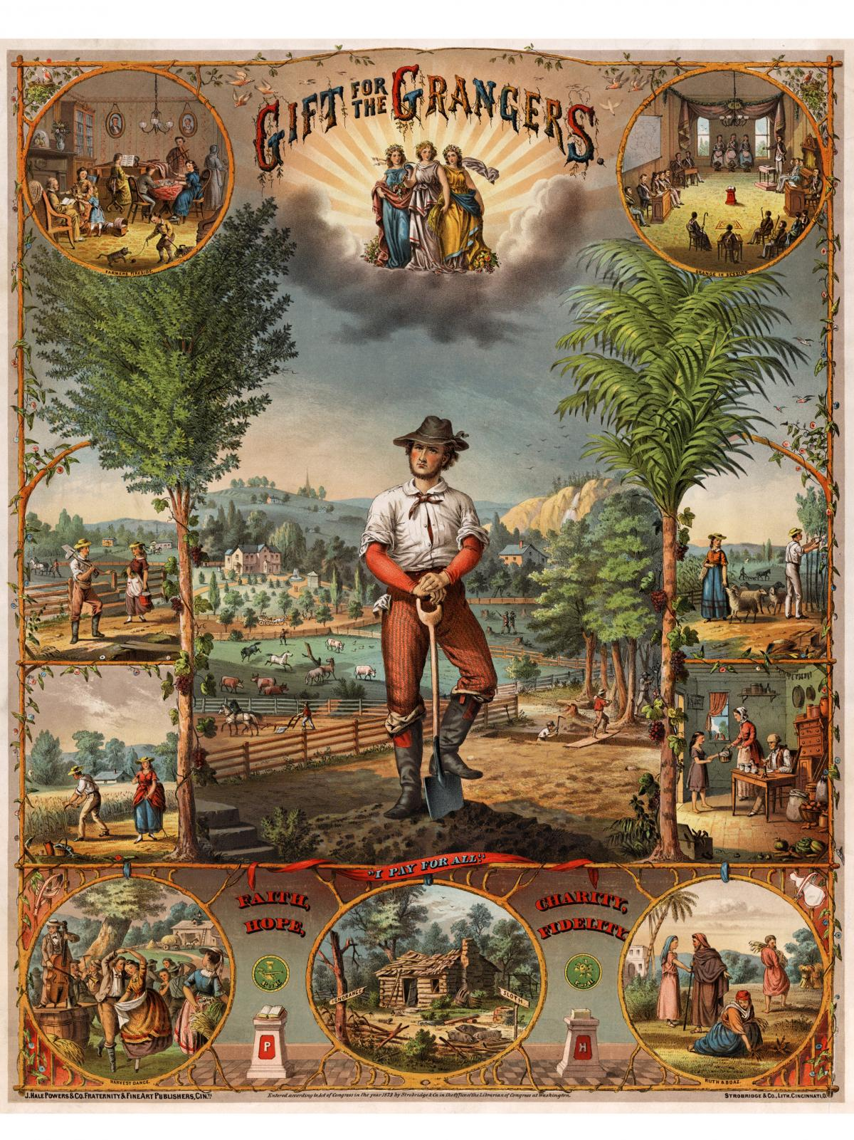 """""""A œGift for the Grangers"""" was a recruitment poster for the National Grange printed in 1873. Grange membership around this period was estimated by some to be as high as 2 million. Today it'™s less than 200,000."""