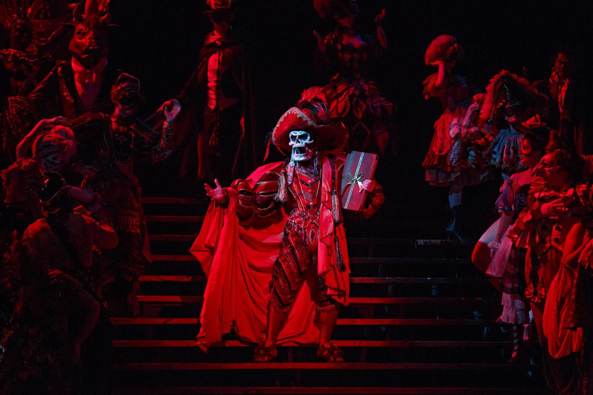 Hugh Panaro plays the title character — here done up as The Red Death for the show's spectacular masked-ball scene — in The Phantom of the Opera, Broadway's longest-running show. Twenty-two years ago, Panaro made his debut with the show as Raoul, the