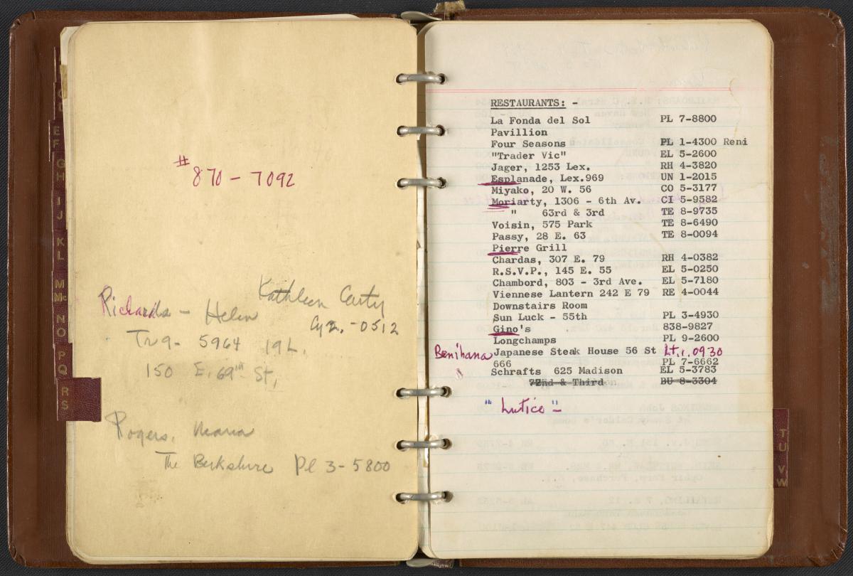 Dorothy Liebes' address book, ca. 1950-1972