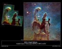 """Astronomers using NASA's Hubble Space Telescope have assembled a bigger and sharper photograph of the iconic Eagle Nebula's """"Pillars of Creation"""" (right); the original 1995 Hubble image is shown at left."""