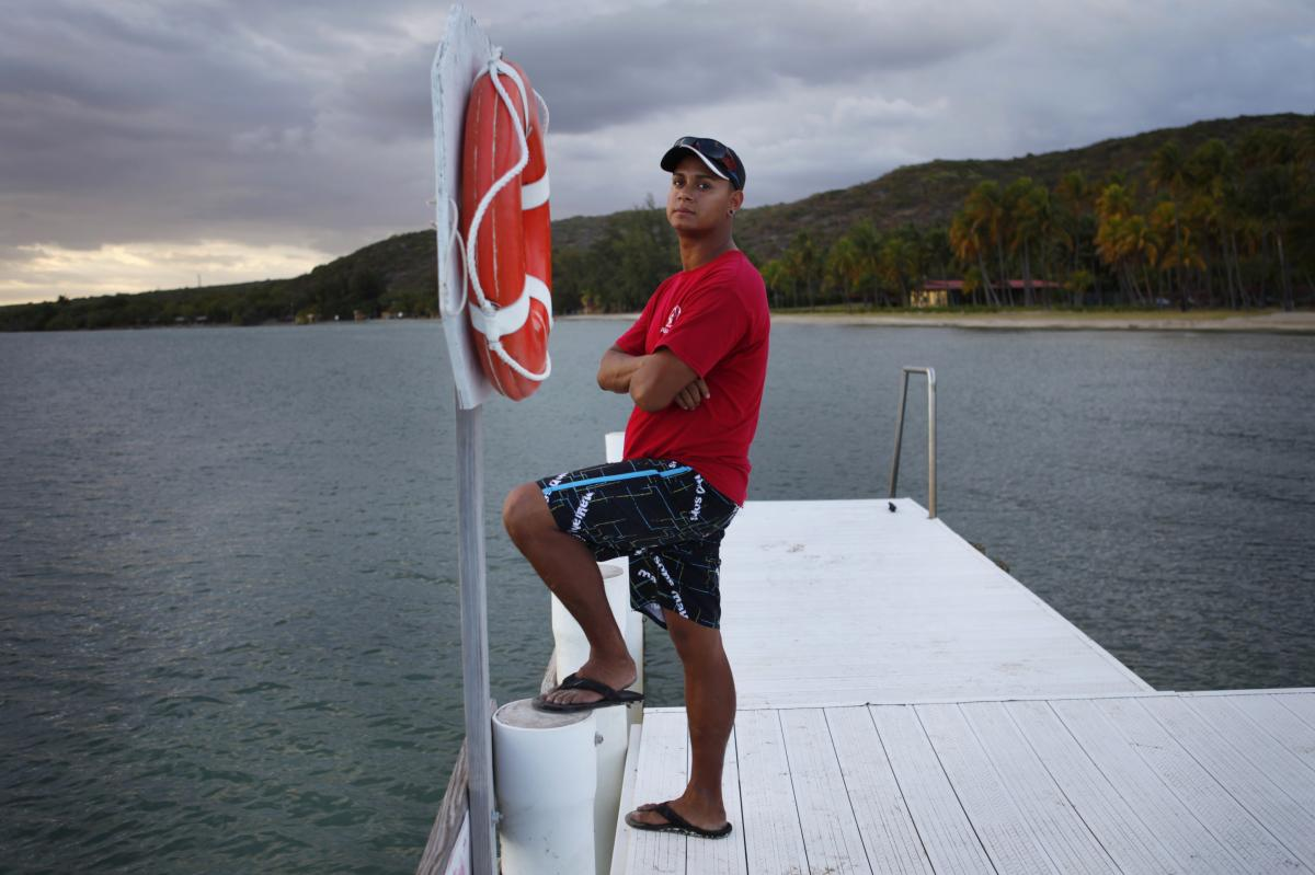 Edward Bonet, 23, lives in Cabo Rojo, Puerto Rico, and works on the dive team at the Copamarina Beach Resort & Spa in the town of Guanica. He lives with his grandmother, while his mother and sister live in Central Florida.