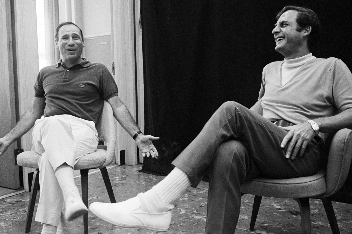 Comedian and writer Mel Brooks (left) sits with Caesar for the Sid Caesar Special in 1967.
