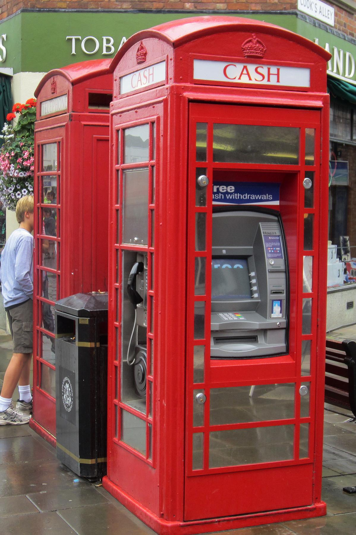 An ATM has been installed in this phone box in Stratford-Upon-Avon, shown here on Aug. 12, 2012.