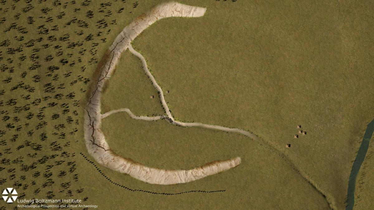 An aerial rendering of the chalk earthworks monument at Durrington Walls shows how a row of newly discovered megaliths along its lower edge might have looked.