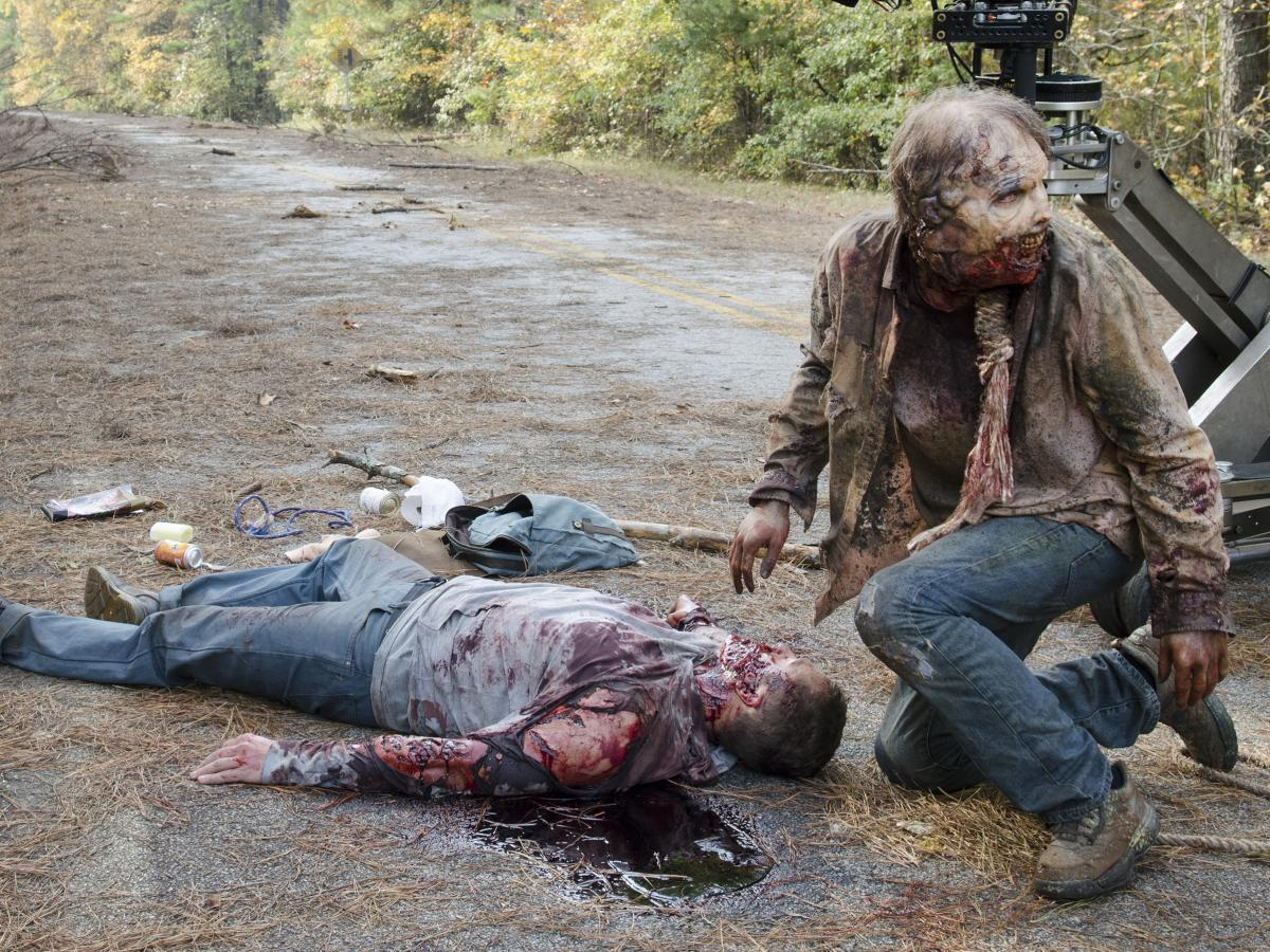 Special effects blood flows freely on the set of The Walking Dead.