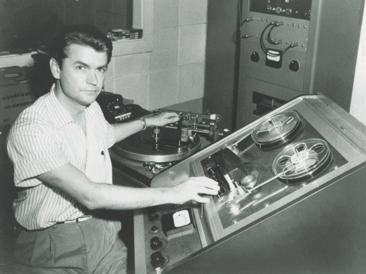 Sam Phillips with a tape recorder.