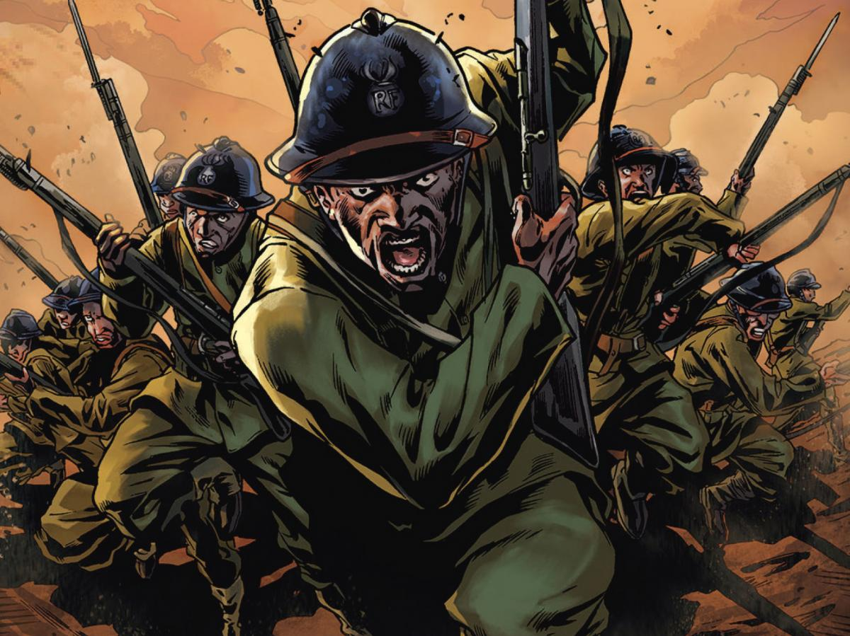 The Harlem Hellfighters, a new graphic novel by Max Brooks, retells the story of the first African-American unit to fight in World War I.