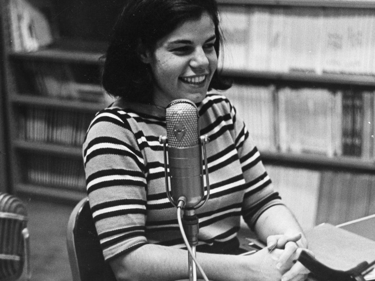 The earliest photo of Susan Stamberg at a microphone, age 25. Later, as the host of All Things Considered, she was the first woman to be a full-time anchor of a U.S. national nightly news broadcast.
