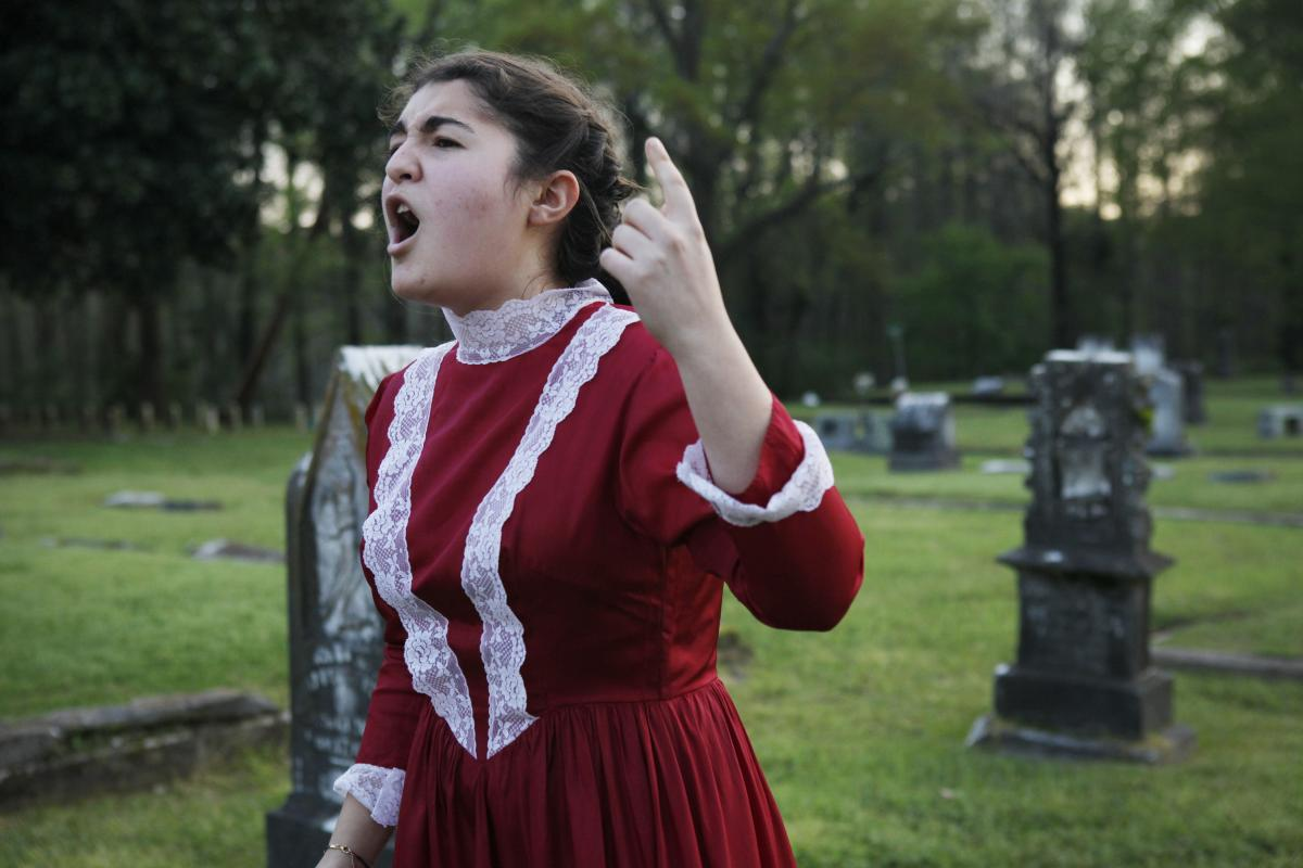 Aylin Memeli, 16, researched and portrayed Ella Bishop Westmoreland, a founding member of the local Women's Christian Temperance Union chapter during the late 19th century.