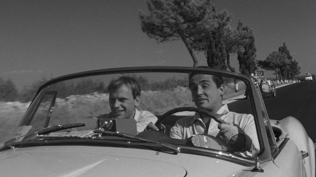 Jean-Louis Trintignant plays Roberto Mariani (left) and Vittorio Gassman plays Bruno Cortona (right) in Dino Risi's Il Sorpasso.