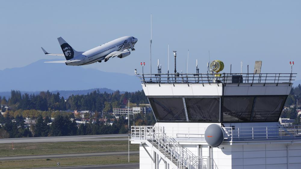 An air traffic control tower at Seattle-Tacoma International Airport.