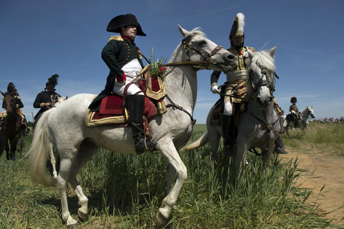 French lawyer Franck Samson, dressed as Napoleon, takes part in a re-enactment of the Battle of Ligny in central Belgium on June 14. The re-enactment of Ligny, Napoleon's last victory, is part of bicentenary celebrations of the Battle of Waterloo.