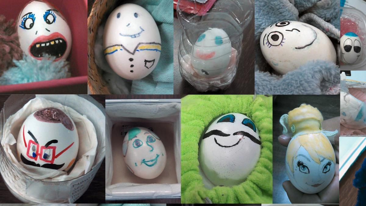 Egg babies created by Aaron Warren's ninth-grade students at Orthopaedic Hospital Medical Magnet High School in Los Angeles.