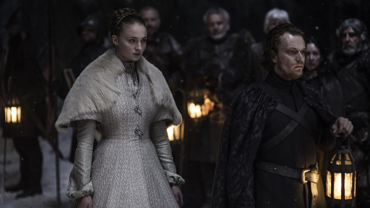 Sansa Stark (Sophie Turner) and Theon Greyjoy (Alfie Allen) on Game of Thrones.