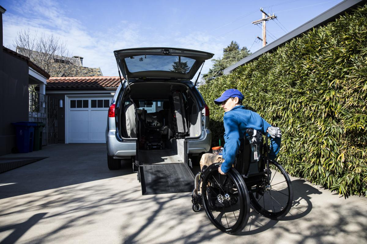 Frances Stevens uses a custom ramp leading to her van. An accident at work in 1997 left her unable to walk. She received full workers' compensation benefits until two years ago, when the insurer withdrew her medications and home health aide. Her lawsuit i