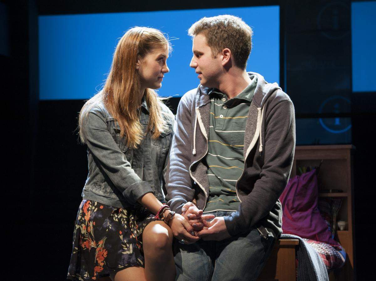 Laura Dreyfuss plays Zoe, Connor's bereaved sister, and Ben Platt is Evan in Dear Evan Hansen.
