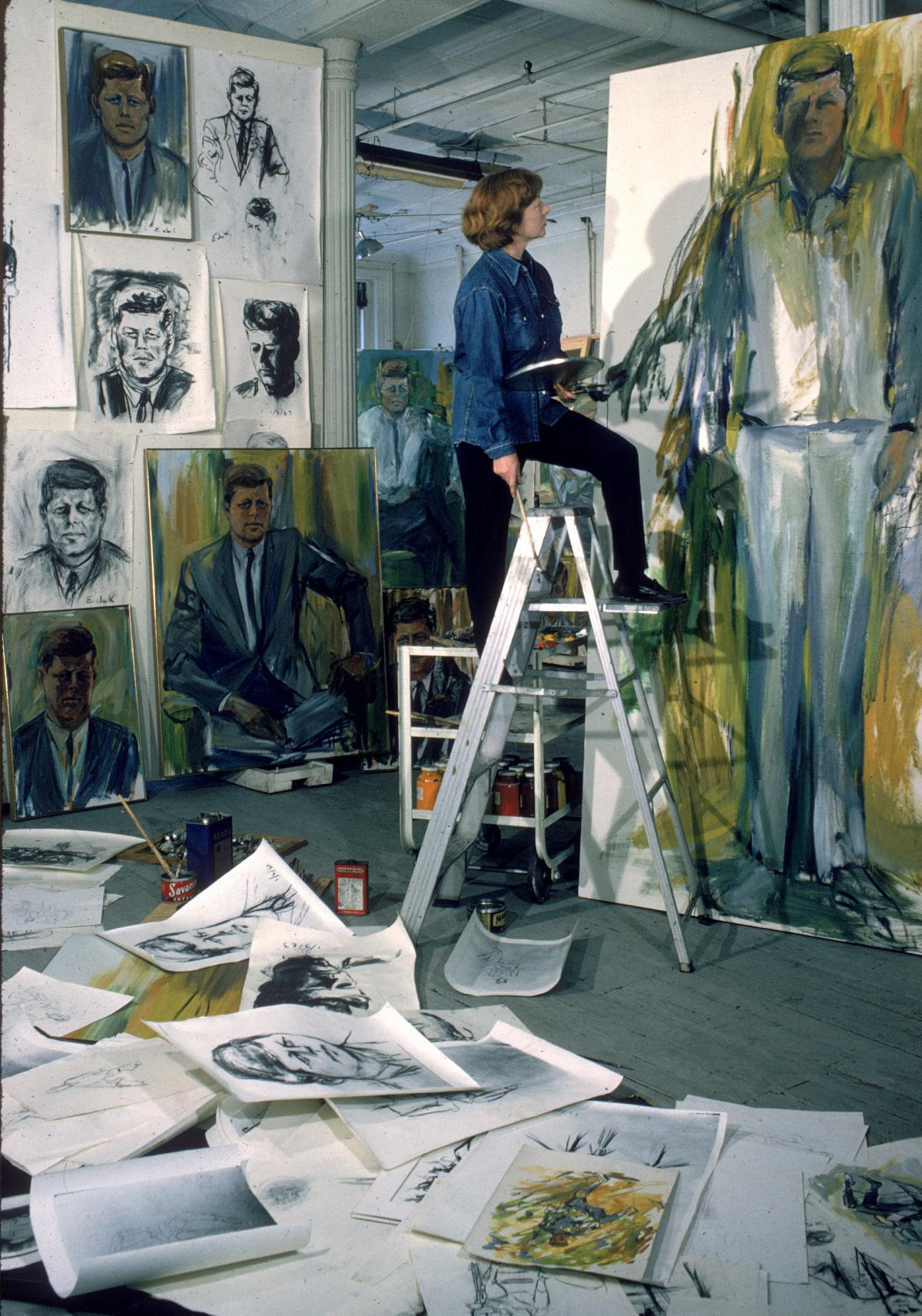 De Kooning made dozens of drawings, sketches and paintings of John F. Kennedy in 1963.