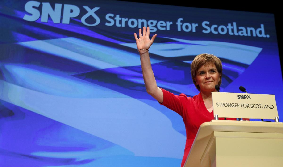 Nicola Sturgeon, Scotland's first minister and leader of the Scottish National Party (SNP), delivers a speech in Glasgow, Scotland, on March 28. After its loss at the polls last year on the issue of Scottish independence, the party has quadrupled its memb
