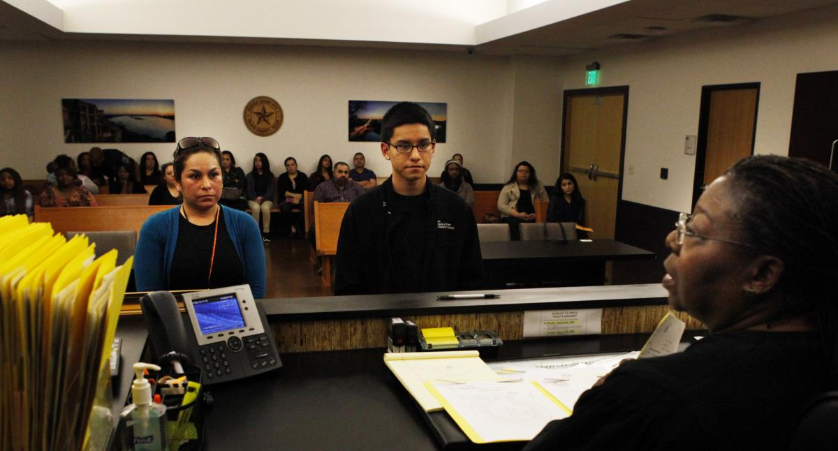 Edgar Ramirez, 17, and his mother, Alma, appear before Judge Williams.