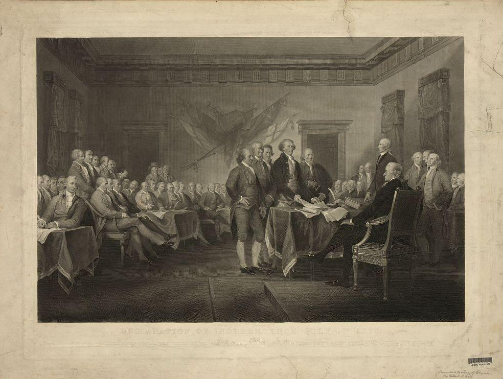 Artist John Trumbull's Declaration of Independence. It can be seen in the rotunda of the U.S. Capitol.