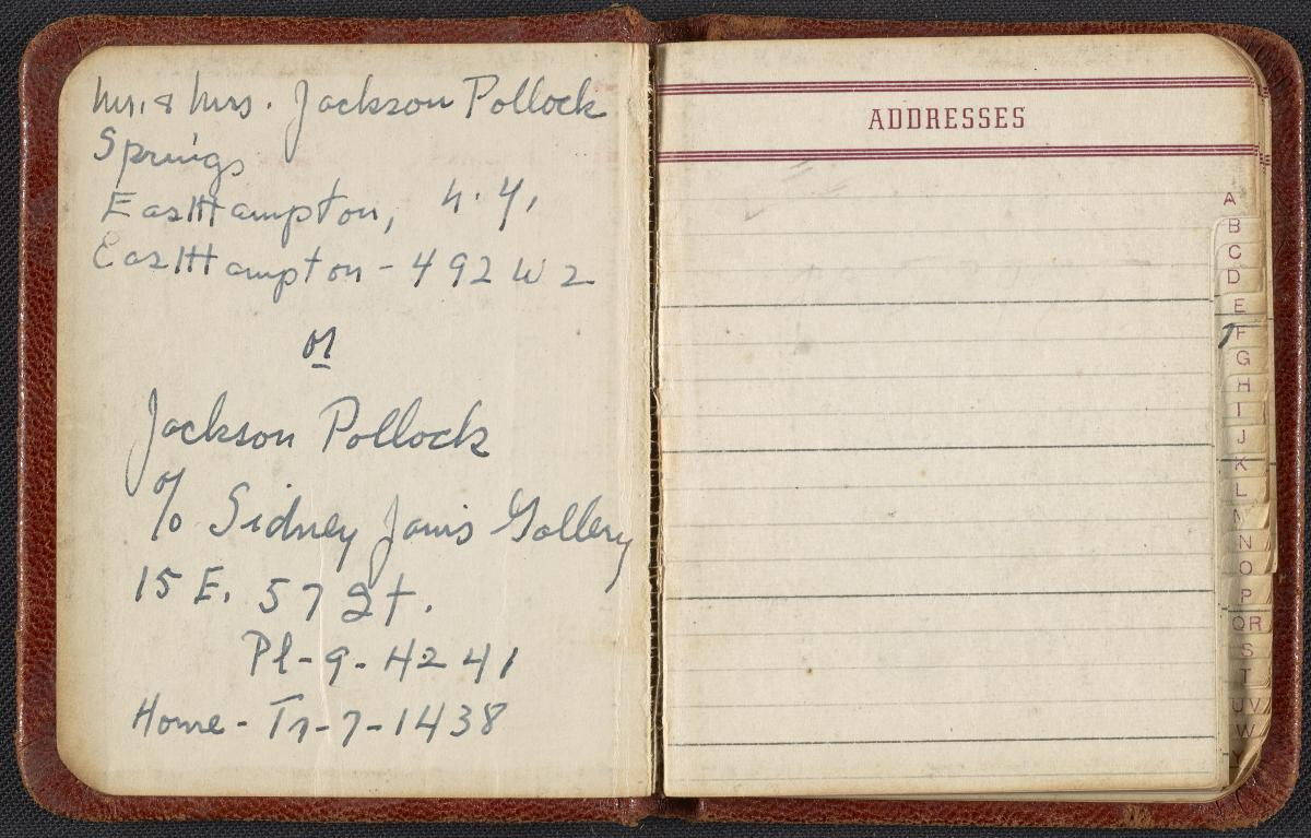 Jackson Pollock and Lee Krasner's address book, circa 1950-1956