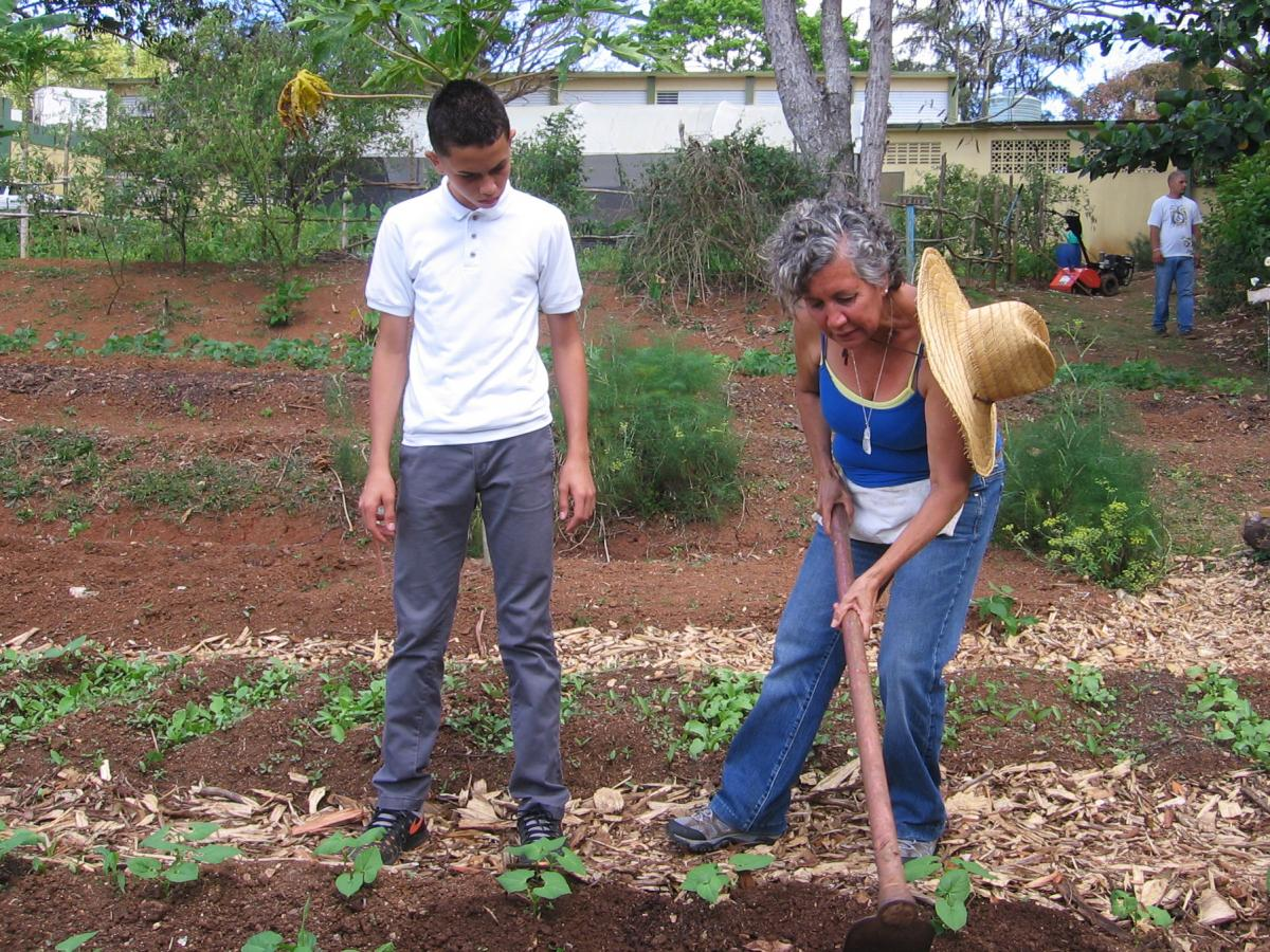 "Dalma Cartagena teaches a class on agricultural science to elementary-school students in Orocovis, Puerto Rico. ""I'm preparing them to make good decisions when it comes to the environment and healthy foods,"" she says."