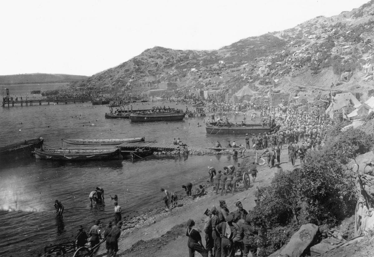 Allied troops at the ANZAC Cove in the Gallipoli peninsula, during World War I. Britain, France, Australia and New Zealand fought for nine months but could not defeat the Ottomans. Overall, a half-million were killed or wounded.