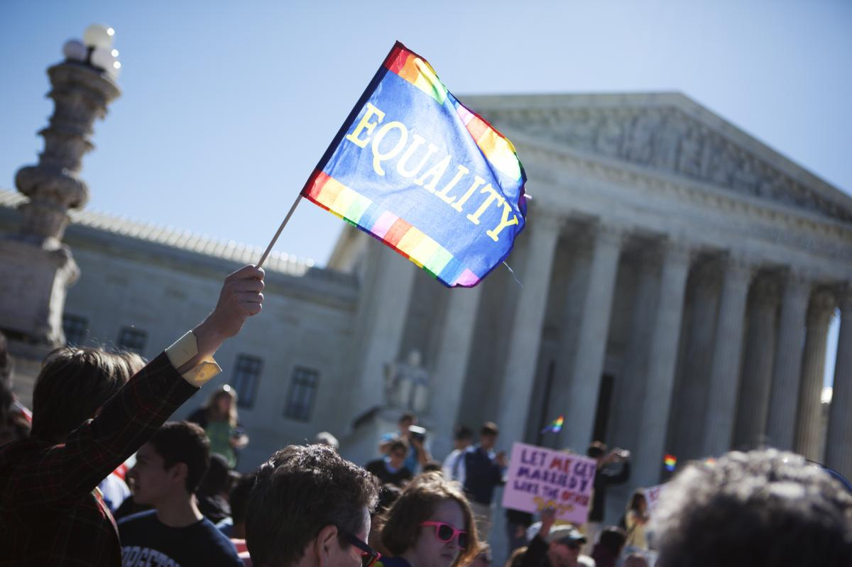 Demonstrators for and against same-sex marriage rallied in front of the Supreme Court on Tuesday morning.
