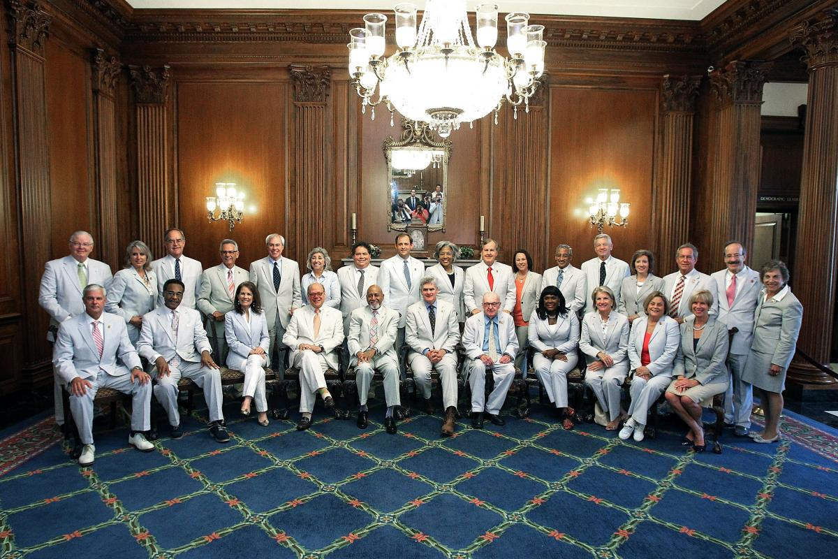 Members of Congress observed National Seersucker Day in June 2014, hosted by Rep. Bill Cassidy, R-La.