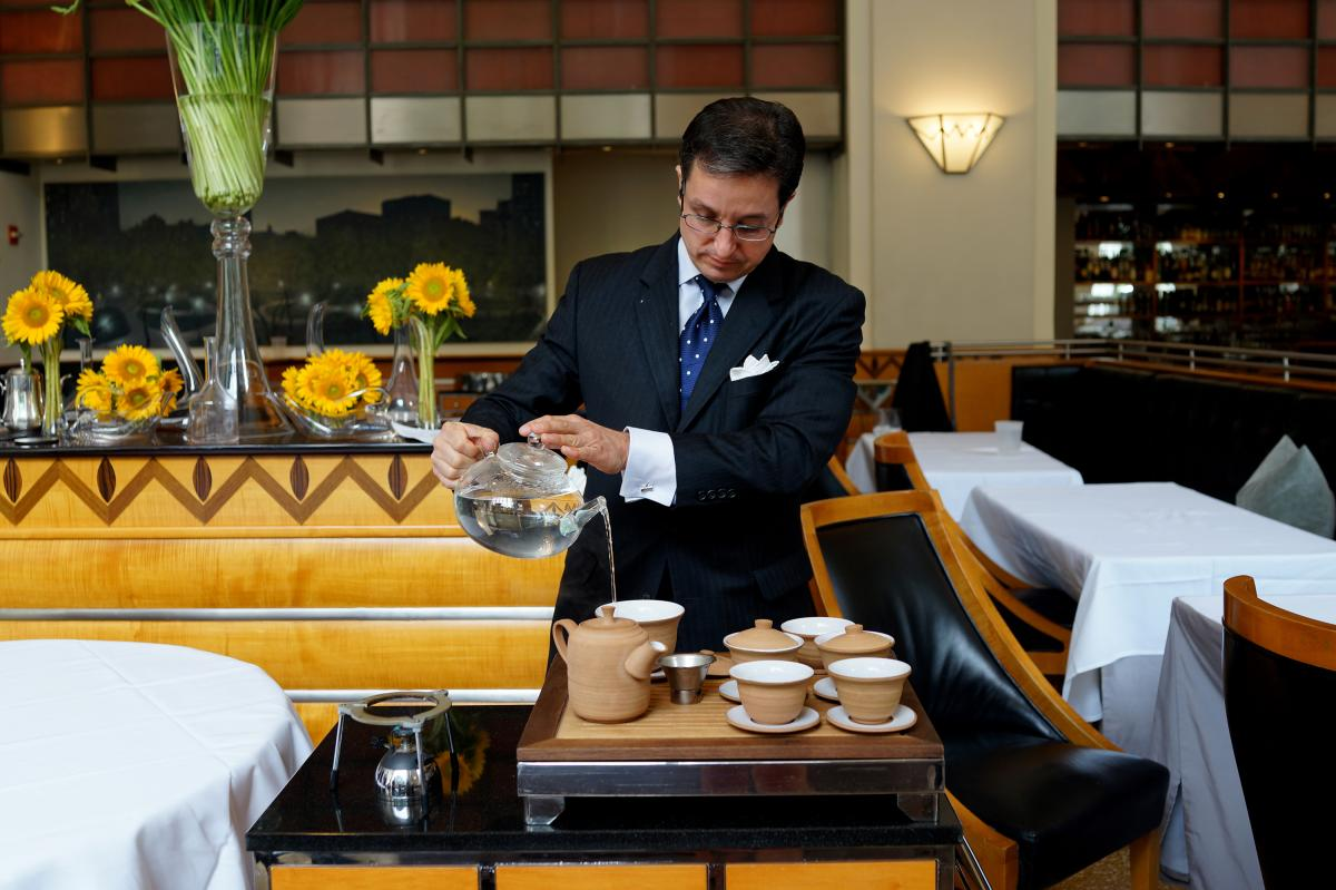 "Christopher Day, the dining room manager at Eleven Madison Park, is also the man behind its tea program. ""My goal has always been to put together a tea list with the same standard and rigor as you would with wine,"" he says."