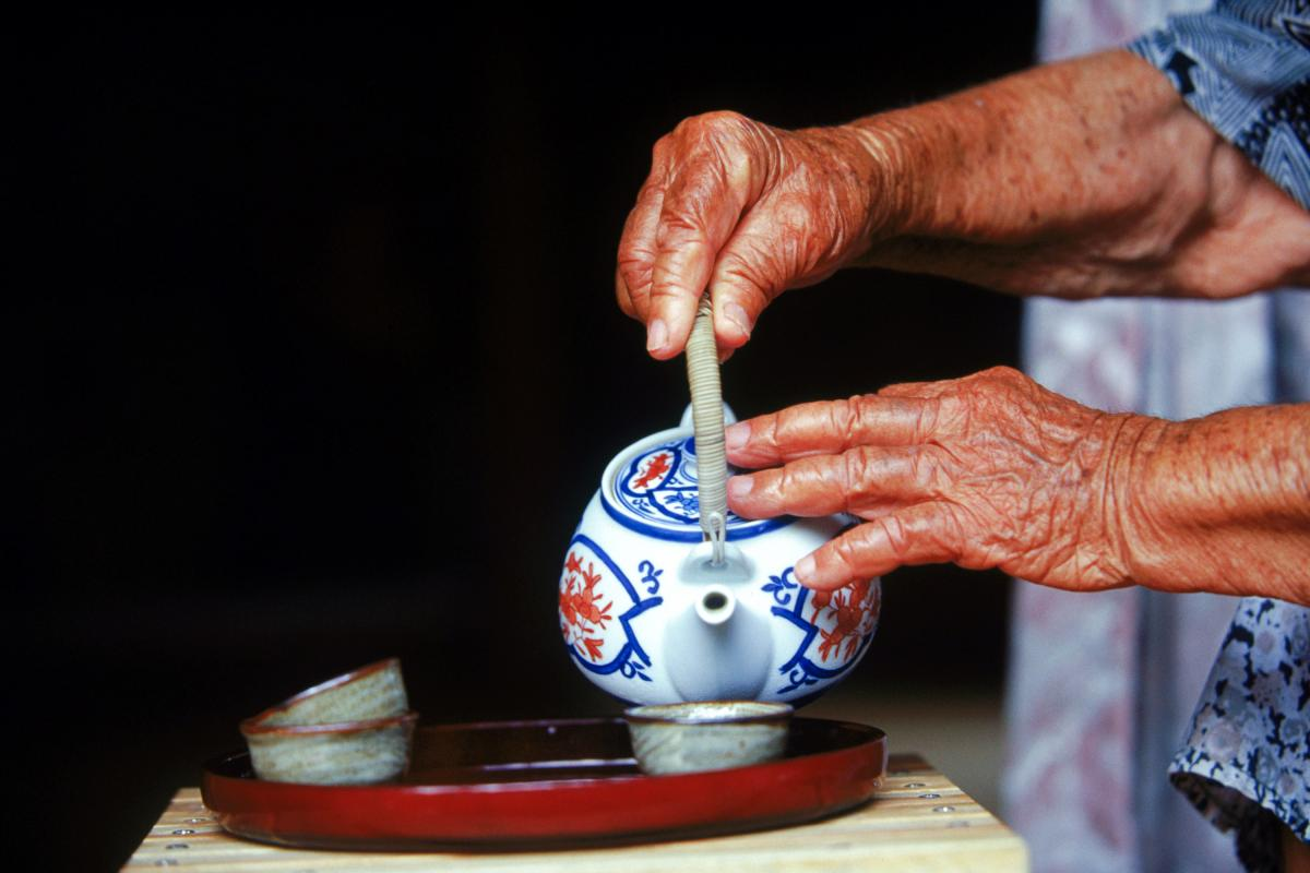 """In the Blue Zone of Okinawa, Japan, locals drink green tea with jasmine flowers and turmeric called shan-pien, which translates to """"tea with a bit of scent."""""""
