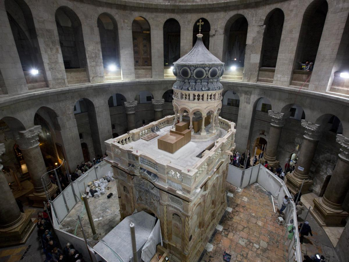 The Edicule in Jerusalem's Church of the Holy Sepulchre is traditionally believed to be the site of Jesus' tomb. A $4 million restoration project, led by a Greek team, has cleaned and reinforced the structure.
