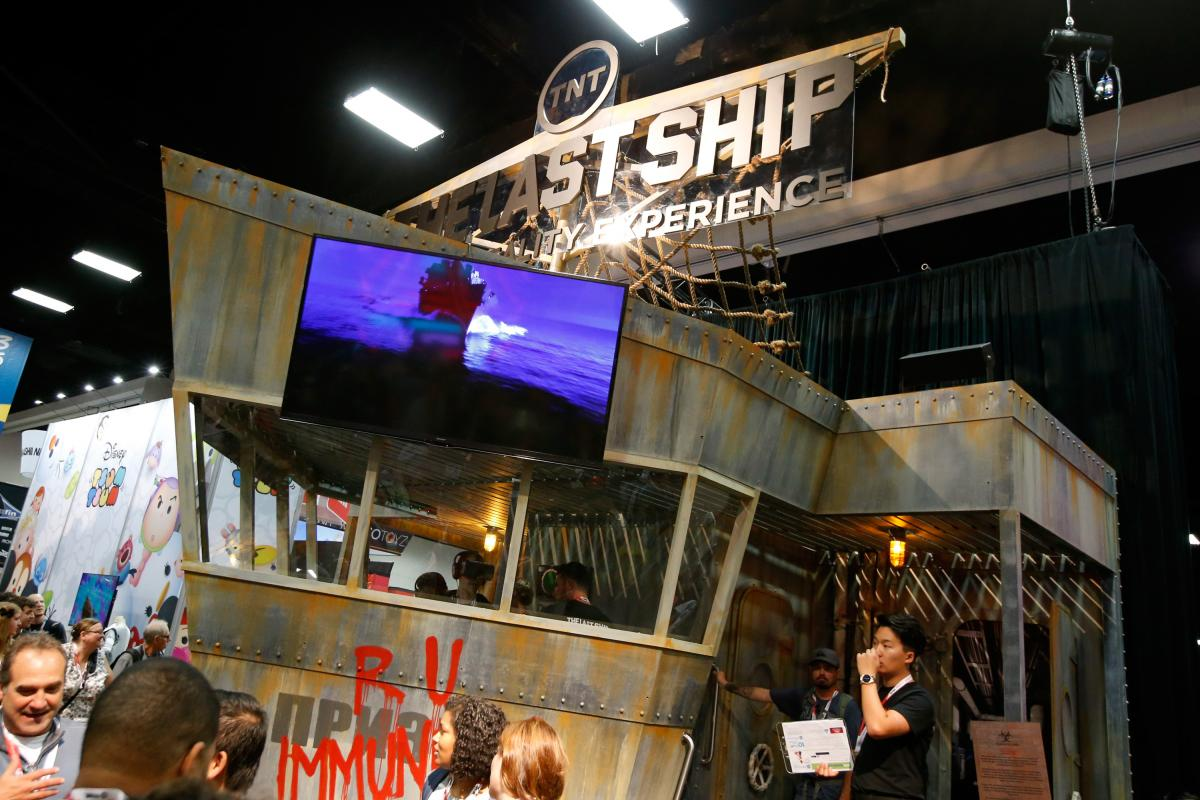 This two-story ship is just one of many enormous marketing displays both inside and outside at San Diego Comic-Con.