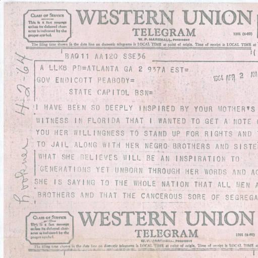The Rev. Martin Luther King Jr. sent a telegram to Mary Peabody's son, Massachusetts Gov. Endicott Peabody. King thanked the governor for the sacrifices of his mother, Mary, and for her willingness to be jailed for the St. Augustine sit-in.