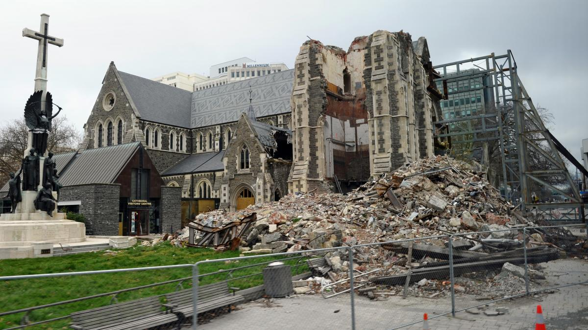 The badly damaged Christchurch Cathedral is pictured on Sept. 7, 2011 during a tour given to foreign journalists visiting the city ahead of the rugby 2011 World Cup. England rugby manager Martin Johnson and several members of the playing squad visited the