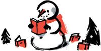 Illustration: A snowman reads a book.