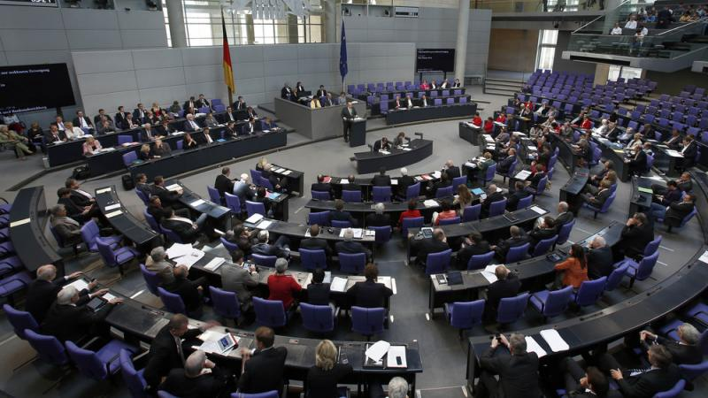 A view of the German Bundestag, or federal Parliament, in Berlin.