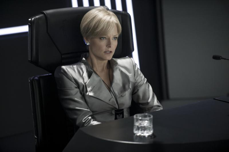 Jody Foster plays her political opposite as the brutal secretary of defense in Elysium.