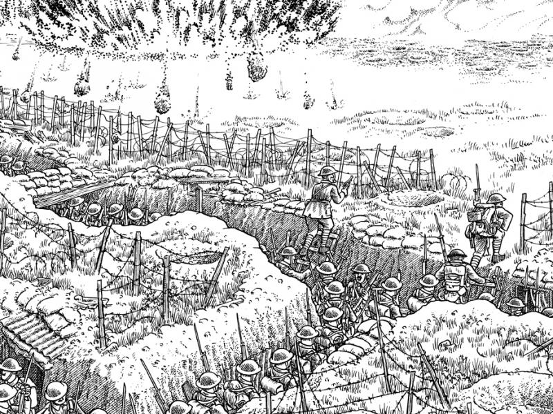 Detail from Plate 11 of Joe Sacco's The Great War: July 1, 1916: The First Day of the Battle of the Somme. On July 1st, at precisely 7:30 a.m., the attack commences.