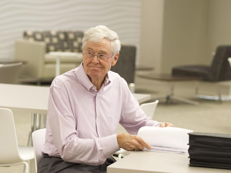 Koch Industries' Chairman and CEO Charles Koch, shown last year at the company's office in Wichita, Kan.
