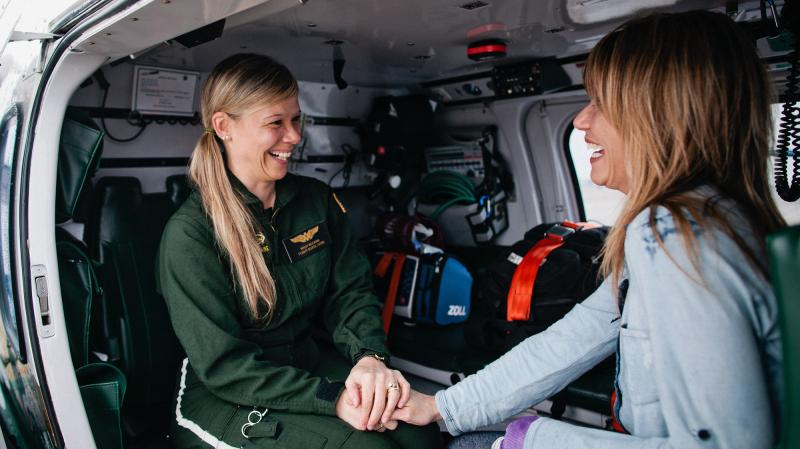 When Melissa McCann (left) suffered a stroke in 2007, her twin sister, Terry Blanchard, helped her make a full recovery. McCann is now back to work as a flight nurse with Life Flight at the Eastern Maine Medical Center in Bangor.