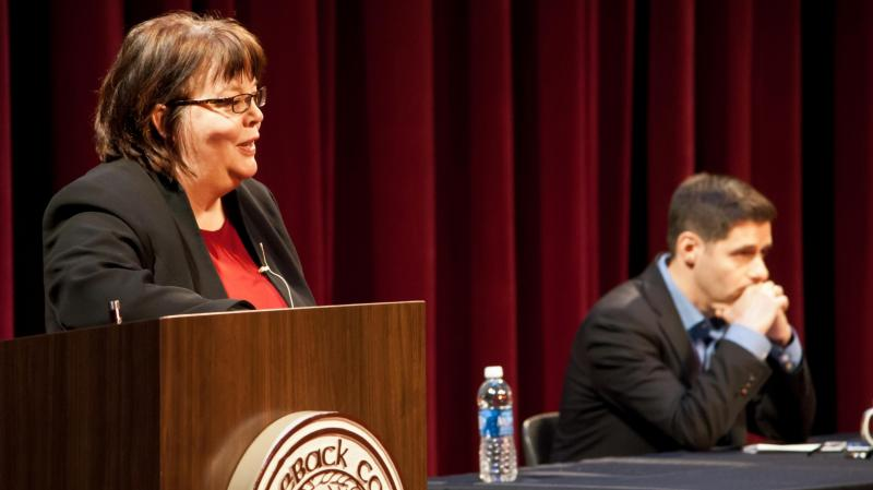 Maggie Gallagher has been an outspoken opponent of gay marriage for the past decade. She debated the issue at Saddleback College this month with John Corvino (right), a gay-marriage proponent who is also a personal friend.