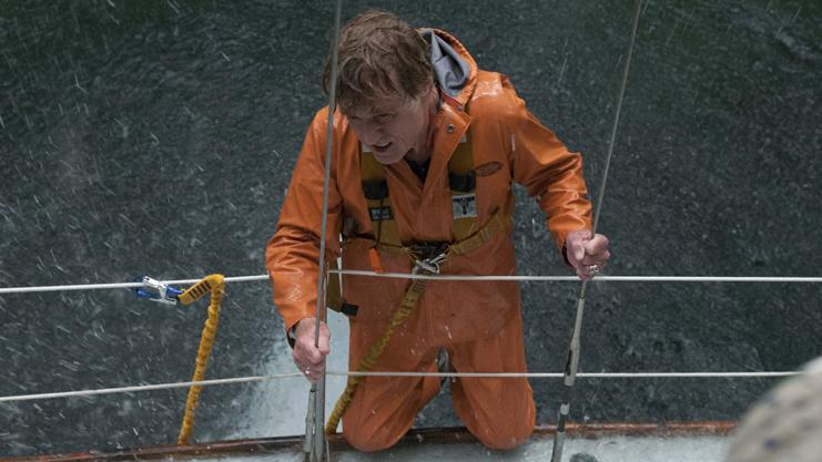 Robert Redford stars in All Is Lost as a solitary man struggling to make his yacht seaworthy again after it collides with a rogue shipping container adrift in the Indian Ocean.