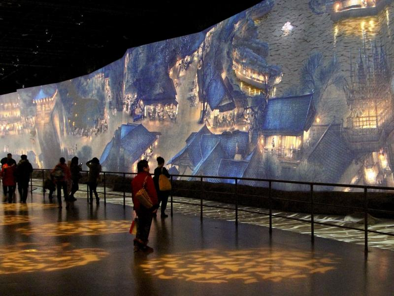 "One of the highlights of the new China Art Palace in Shanghai is a giant digital rendering of a famous ancient scroll, ""Along the River During Qingming Festival,"" which includes figures that walk and talk. The work was first presented at the 2010 World Ex"