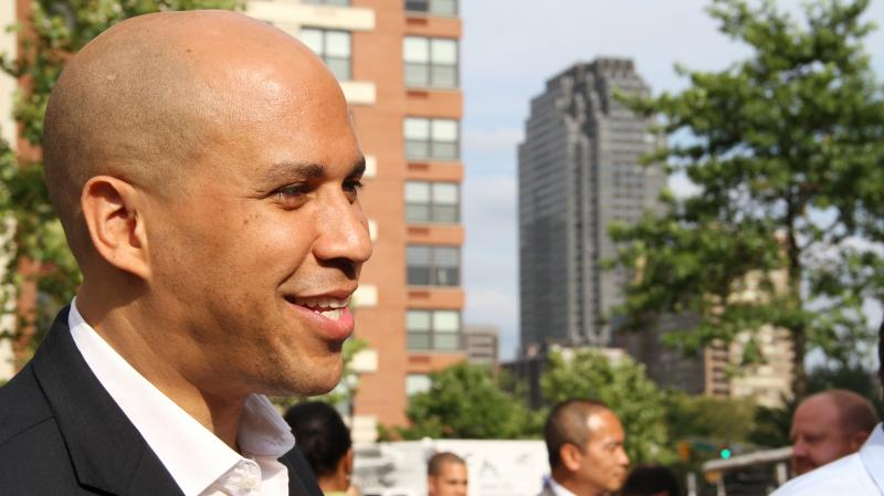 Newark Mayor Cory Booker speaks about his Senate campaign, outside the Grove Path Station in Jersey City, N.J., last month.