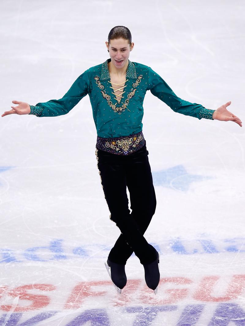 """Jason Brown skates during this year's U.S. Figure Skating Championships at TD Garden in Boston. After his free skate was watched more than 3 million times on YouTube, he said, """"I don't know how it happened. ... I'm so shocked, beyond shocked. It's so surr"""