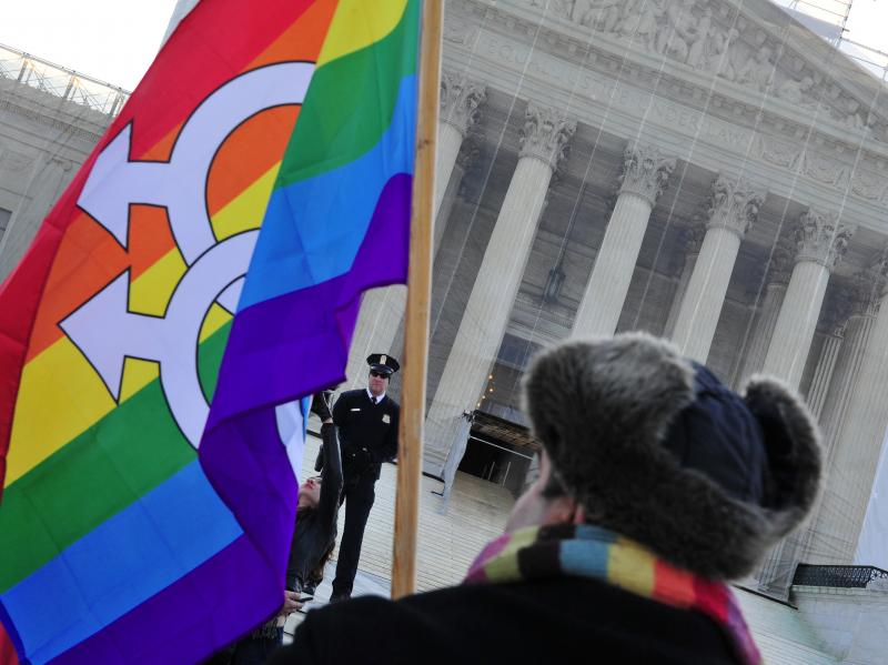 A pro-gay-marriage protester stands in front of the Supreme Court on Tuesday, the first of two days of oral arguments on challenges to laws that limit the definition of marriage to unions of a man and a woman.
