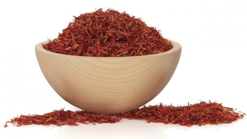 Saffron is a stringy red spice made from the dried stigma of a saffron flower.